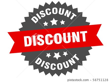 discount sign. discount red-black circular band 58751128
