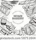 Bread and pastry banner. Vector bakery hand drawn 58751644
