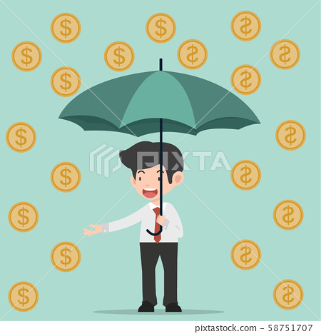 businessman hold umbrella with coin 58751707