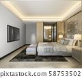 3d rendering beautiful classic luxury bedroom suite in hotel with tv 58753502
