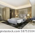 3d rendering beautiful classic luxury bedroom suite in hotel with tv 58753504
