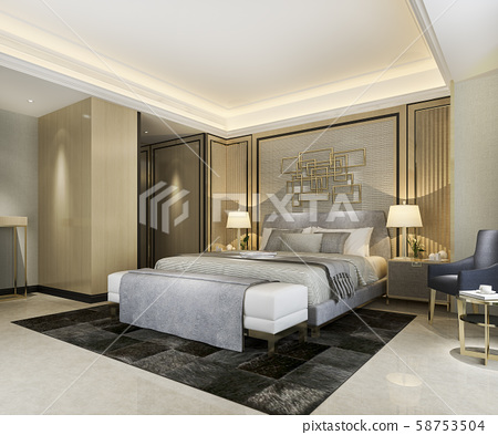 3d rendering beautiful classic luxury bedroom suite in hotel with tv 58753504