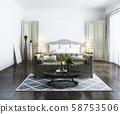 3d rendering beautiful classic luxury bedroom suite in hotel with tv 58753506