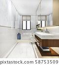 3d rendering modern bathroom with luxury tile decor  58753509