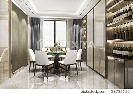 3d rendering modern dining room and  living room with luxury decor wine shelf 58753510
