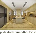 3d rendering scandinavian vintage modern kitchen with dining area 58753512