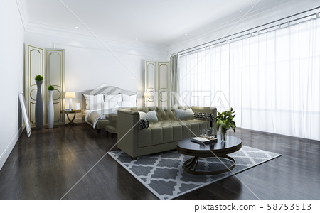 3d rendering beautiful classic luxury bedroom suite in hotel with tv 58753513