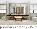 3d rendering modern bathroom with luxury tile decor  58753515