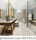 3d rendering modern bathroom with luxury tile decor  58753516