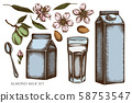 Vector set of hand drawn colored almond, glass, milk boxes, teaspoon 58753547