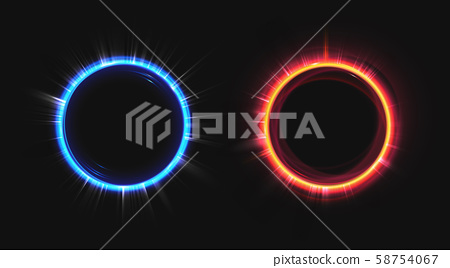 Hud blue and orange hologram effect circles set. 58754067