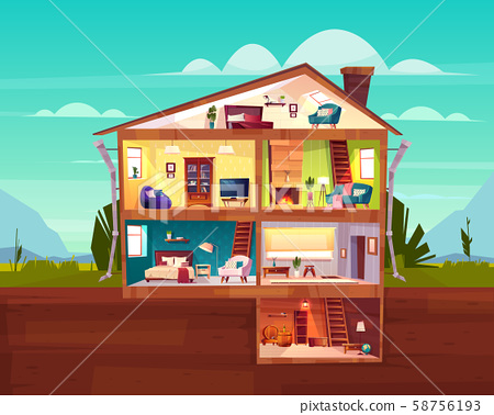 Cottage house cross section rooms plan 58756193