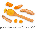 Turmeric powder and turmeric root isolated on white background. Top view. Flat lay 58757270