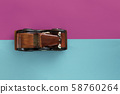 Retro vintage car on paper background. Vacation, delivery, travel concept. Top view, flat lay. 58760264