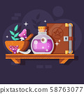 Magic Potion Bottle with Ingredients and Spellbook 58763077