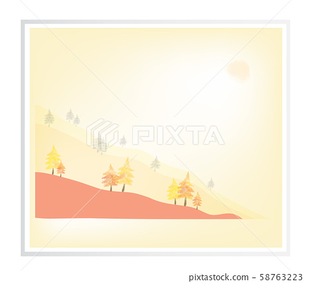 Coniferous forest on the mountain, autumn Landscape, watercolor picture in frame, vector illustrtion. 58763223