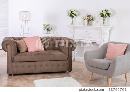 The interior of the cozy relaxation area. Gray 58763761