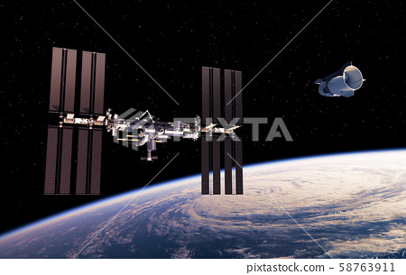 Commercial Spacecraft And International Space Station In Space. 3D Illustration. 58763911