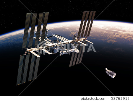 Commercial Spacecraft And International Space Station Orbiting Earth. 3D Illustration. 58763912