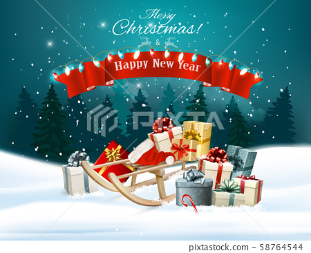 Christmas holiday background with presents on a 58764544