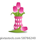 Realistic pink tulips in vase isolated on white 58766240