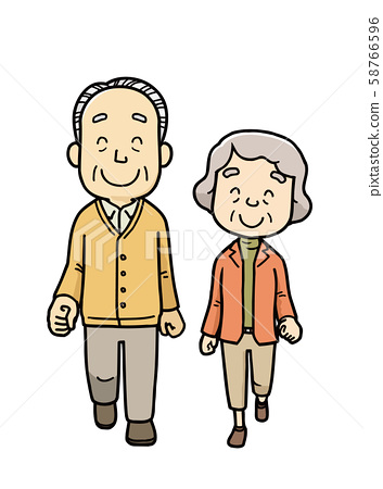 Elderly | Walking | Neighborhood | Background 58766596