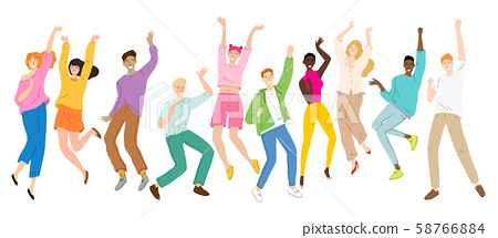 Group of young happy dancing people, dancing characters, men and women dance party, disco. 58766884