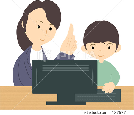 A boy studying in a programming class (female teacher) 58767719