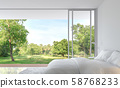 Minimal style bedroom with nature view 3d render 58768233