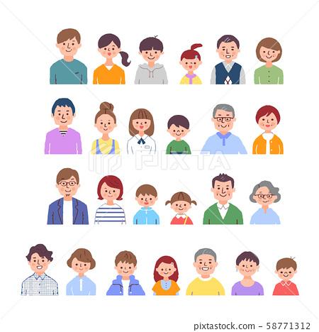 4 조의 3 세대 가족 바스트 업 세트 58771312