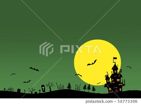 Halloween background material. Castle, bats, grave. 58773306