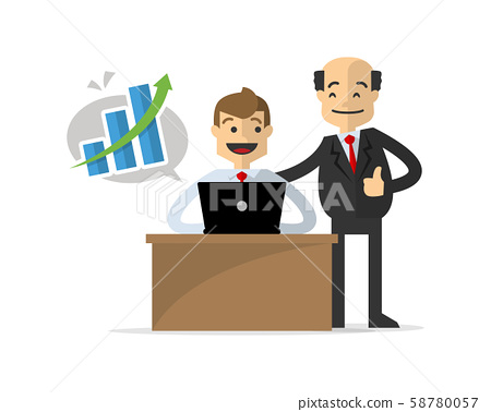 Vector of a businessman get a successful work, 58780057