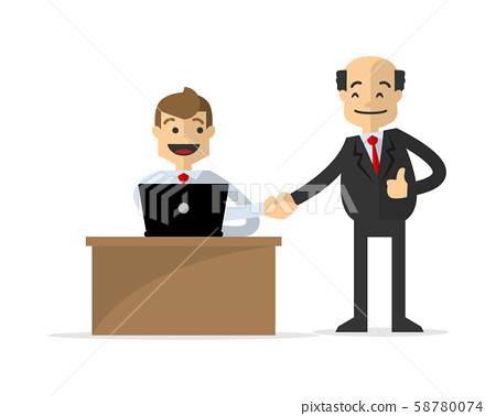 Vector of a businessman shake hand with his boss 58780074