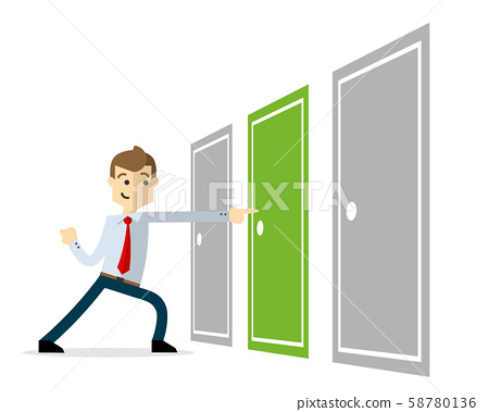 Vector of a businessman with a right solution, 58780136