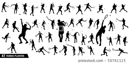 Vector set of tennis players 58781125