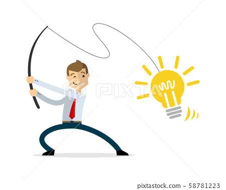 Vector of businessman fishing ideas 58781223