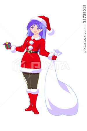 여성 산타 소녀 흰색 배경 58782012