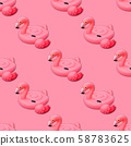 Swimming pool toy in shape of pink flamingo 58783625