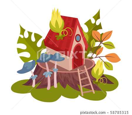 Forest house for fairies. Vector illustration on a white background. 58785315
