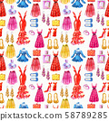 Fashion seamless pattern. Watercolor hand drawn background 58789285