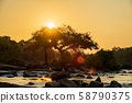 Sunset back light with river, trees and rocks 58790375