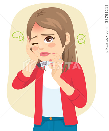 Young sad woman with fever holding thermometer and hand on face 58791215