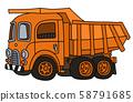 The retro orange dumper truck 58791685