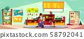 Child studying alphabet with nurse cartoon 58792041