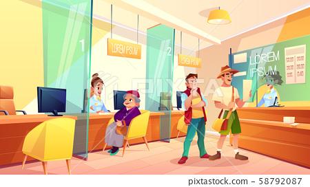 Bank clients in reception area cartoon 58792087