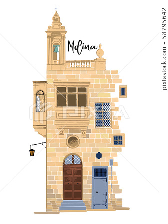 Part of traditional maltese house in Mdina made of sandy stone bricks with various doors, windows 58795642