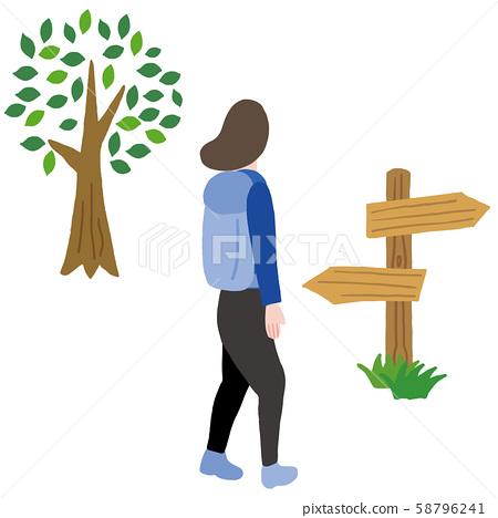 一個女人遠足一棵樹和一個標誌 58796241