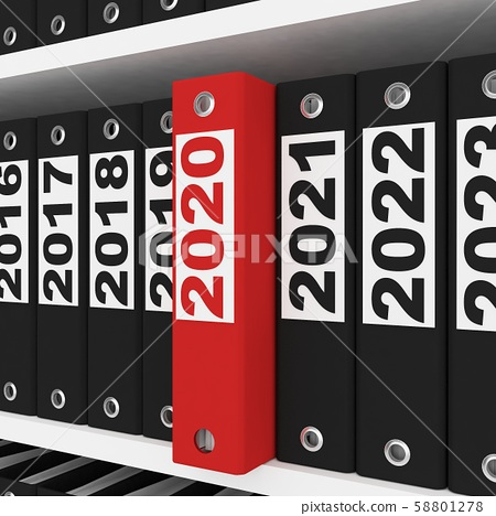 New Year 2020 Sign ,Office Folders  on the shelves 58801278