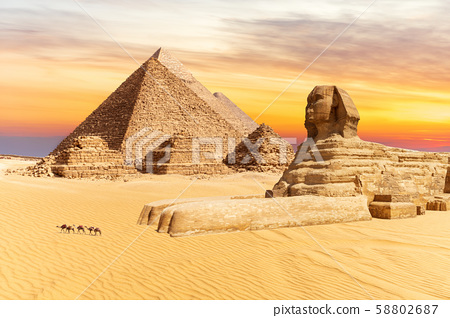 The Sphinx and the Pyramids of Giza, wonders of 58802687