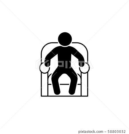 The man in the armchair icon. A man resting in a chair 58803032